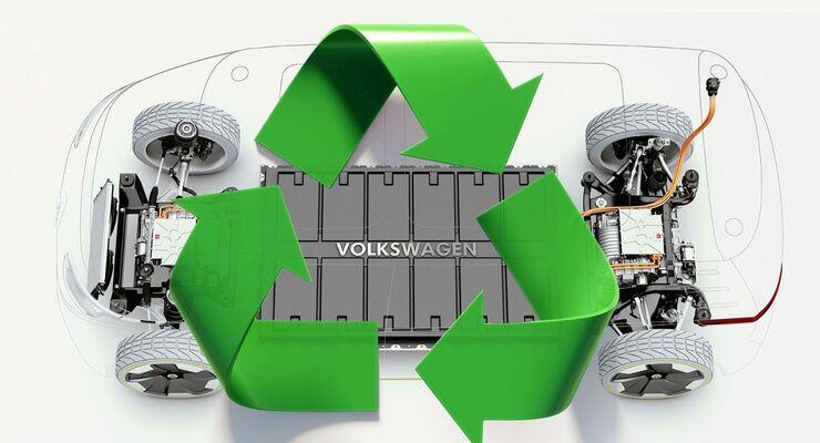 Akkus von Elektroautos sollen künftig im großen Stil recycelt werden