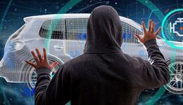 Hacker Man holding an smartcar concept  3d rendering