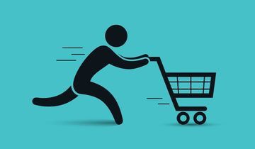 Running man pushing shopping cart icon. Vector shopping illustration.